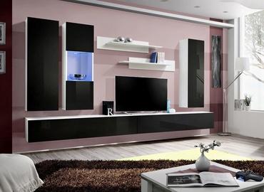 Dzīvojamās istabas mēbeļu komplekts ASM Fly E Horizontal Glass White/Black Gloss