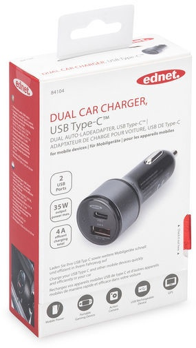 Ednet Dual Car Charger USB Type-C