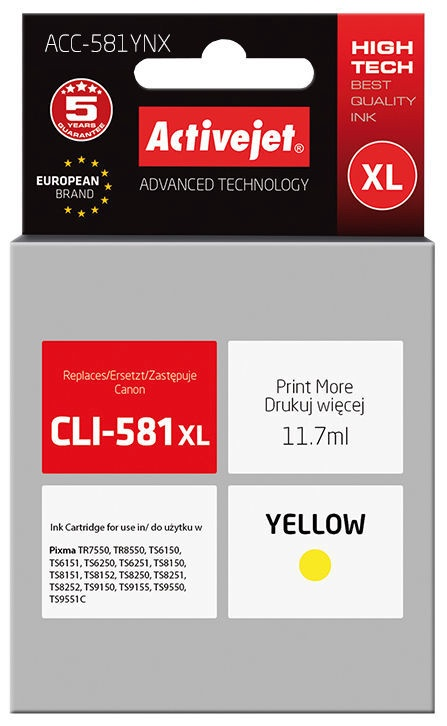 ActiveJet Cartridge ACC-581YNX Yellow