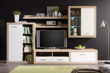 Black Red White Cancan 1 Wall Unit Sonoma Oak/Glossy White