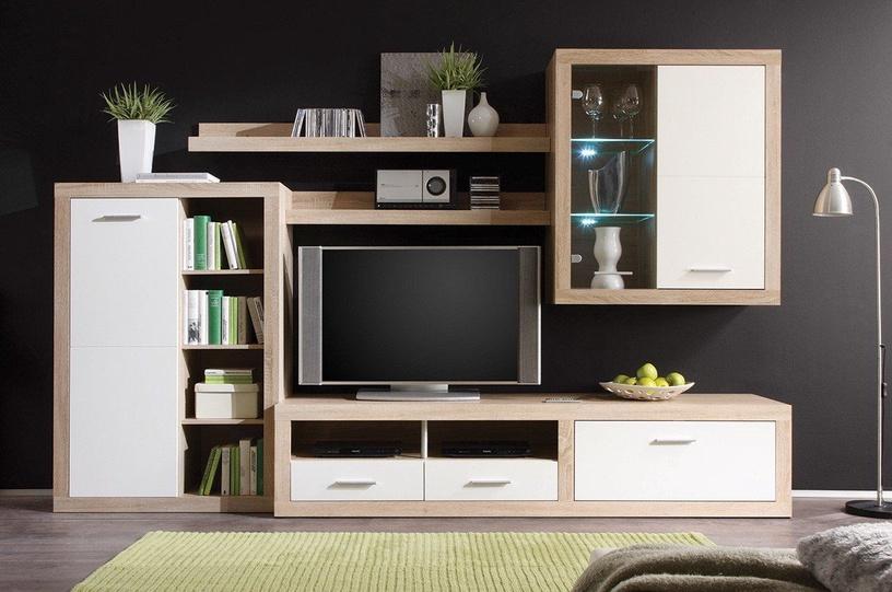 Dzīvojamās istabas mēbeļu komplekts Black Red White Cancan 1 Sonoma Oak/Glossy White