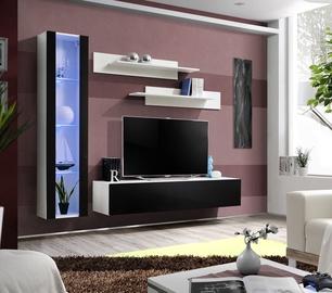 ASM Fly G Living Room Wall Unit Set Vertical Glass White/Black Gloss