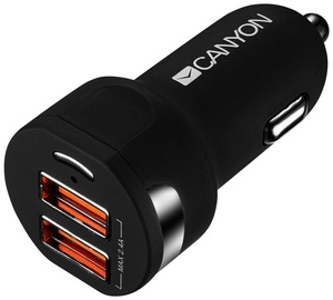 Canyon Dual USB CAr Charger Black