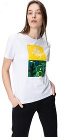 Audimas Womens Short Sleeve Tee White Yellow Green Printed XS