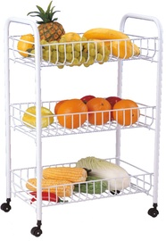 Asi Collection Rolling Cart 3 Shelves White