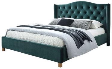 Кровать Signal Meble Scandinavian Aspen Velvet, зеленый, 216x198 см, с решеткой