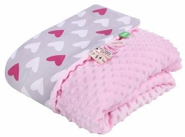 Одеяло Lulando Minky Baby Blanket Pink/Grey With Hearts 80x100cm