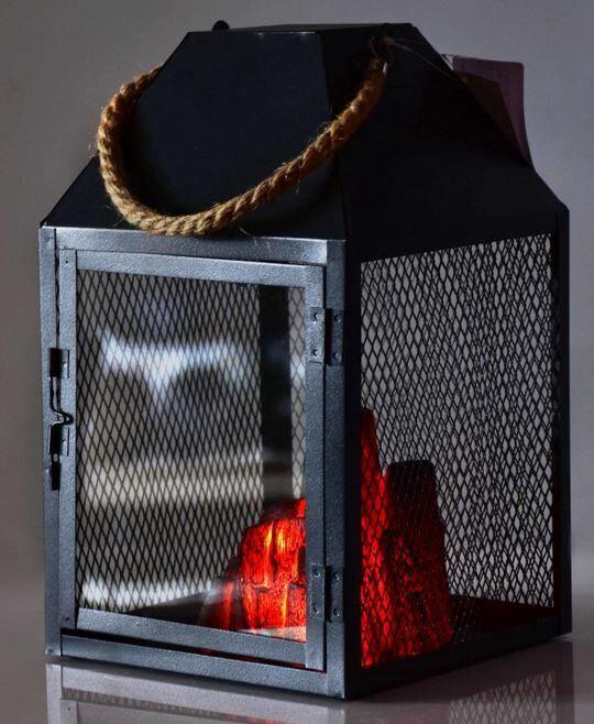Mondex Kanvar Fireplace LED Lanterns Black 30cm