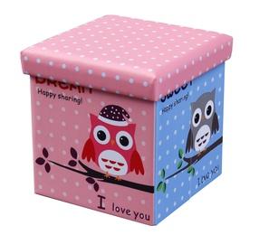 Pufs Halmar Moly Owl Pink/Blue, 38x38x38 cm