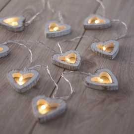 DecoKing Wooden Heart LED Lights 10pcs