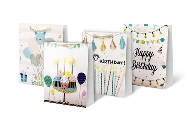 Paper Gift Bag With Glitter 26x10x32cm SCW231-ABCD-M