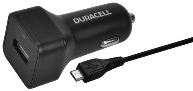 Duracell USB Plug Car Charger With Micro USB Cable 1m Black