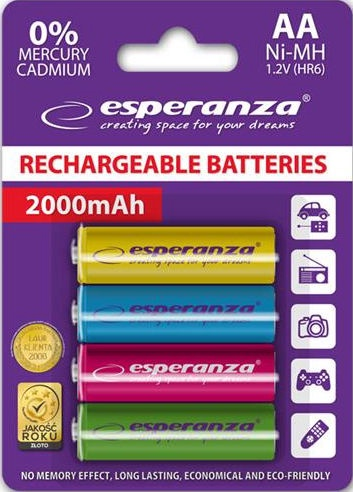 Esperanza Rechargeable Batteries 4x AA 2000mAh Mix