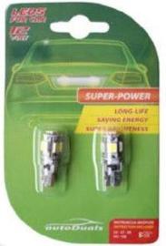 AutoDuals 5SMD-LED T10 Canbus Light Bulb White 2pcs