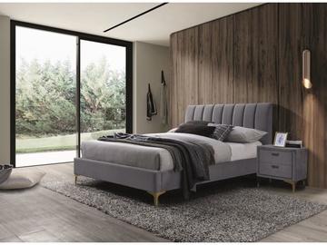 Кровать Signal Meble Mirage Velvet, серый, 219x165 см, с решеткой