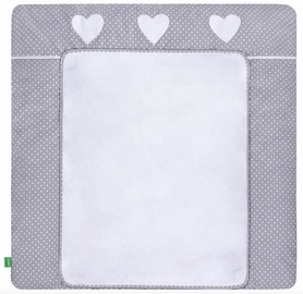 Matracis autiņu maiņai Lulando Dots/Heart, 75x85 cm, balta/pelēka