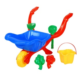 Smilšu kastes rotaļlietu komplekts Wheelbarrow, 6 gab.