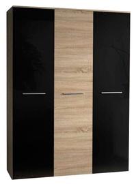 Skapis ASM Big Sonoma Oak/Black Gloss, 135x55x190 cm