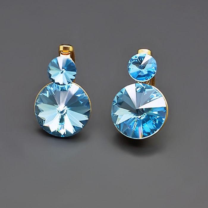 Diamond Sky Earrings Clarice IV Aquamarine Blue With Swarovski Crystals