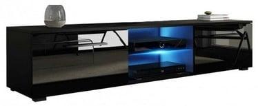 ТВ стол Vivaldi Meble Moon Black/Black Gloss, 1400x400x360 мм