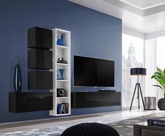 ASM Blox III Living Room Wall Unit Set Black/White