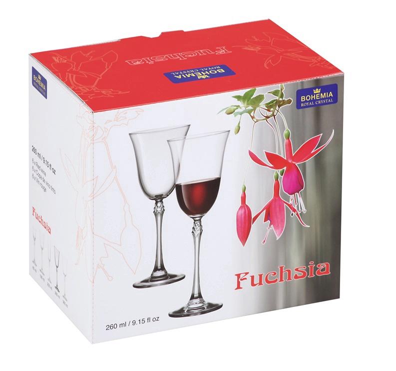 Vīna glāze Bohemia Royal Crystal Fuchsia, 0.26 l, 6 gab.
