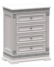 Zov K1-80 Chest Of Drawer Bianco Silver