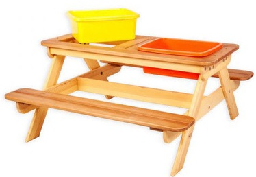 Āra mēbeļu komplekts Folkland Timber Multifunctional Children's Picnic Table Brown/Yellow, 4 sēdvietas