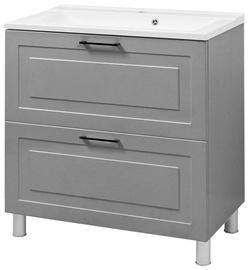 Izlietnes skapis Vento Alba Bathroom Cabinet With Sink Gloria 80cm Grey