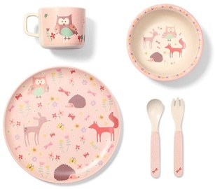 BabyOno Feeding Set Forest Pink