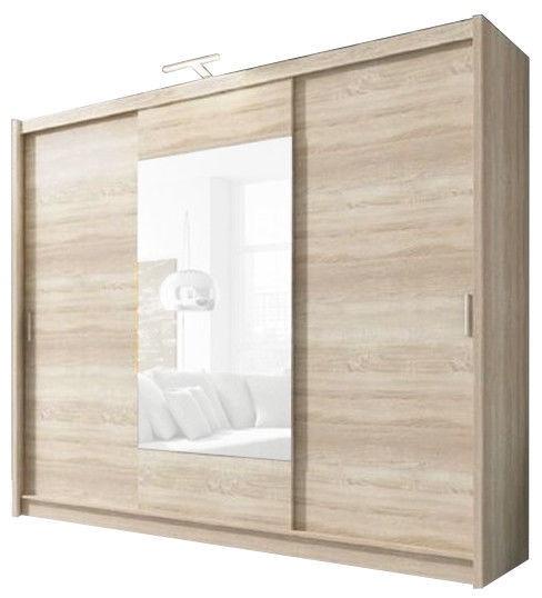 Skapis Piaski Wiki 250 Sonoma Oak, 250x62x214 cm, with mirror