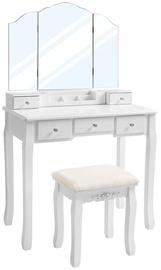 Kosmētikas galds Songmics Vasagle, balta, 80x40x137.5 cm, with mirror