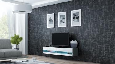 TV galds Cama Meble Vigo New 140, balta/pelēka, 1400x300x1400 mm