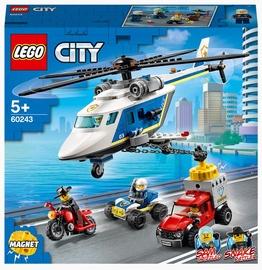 Konstruktors LEGO City Policijas pakaļdzīšanās ar helikopteru 60243, 212 gab.