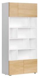 Black Red White Muro Shelf 80x202x32cm White/Polish Oak Left
