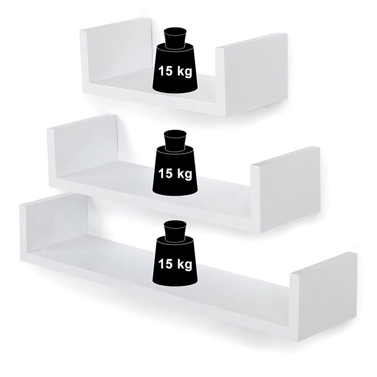 Songmics Wall Shelf White 60/45/30 3pcs
