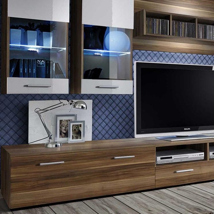 ASM Dorade Living Room Wall Unit Set Plum/White