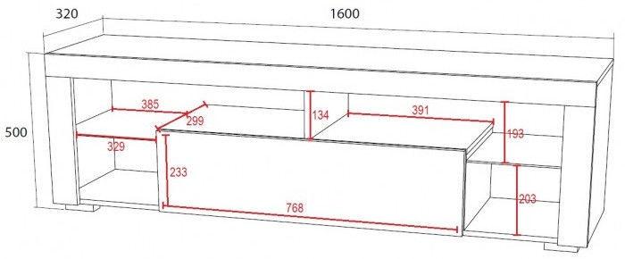 ТВ стол Vivaldi Meble Everest, белый, 1600x350x550 мм