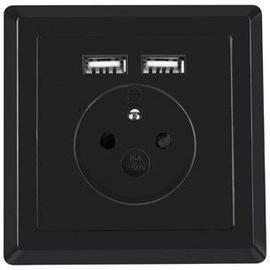 Lanberg Socket AC-WS01-USB2-E-B