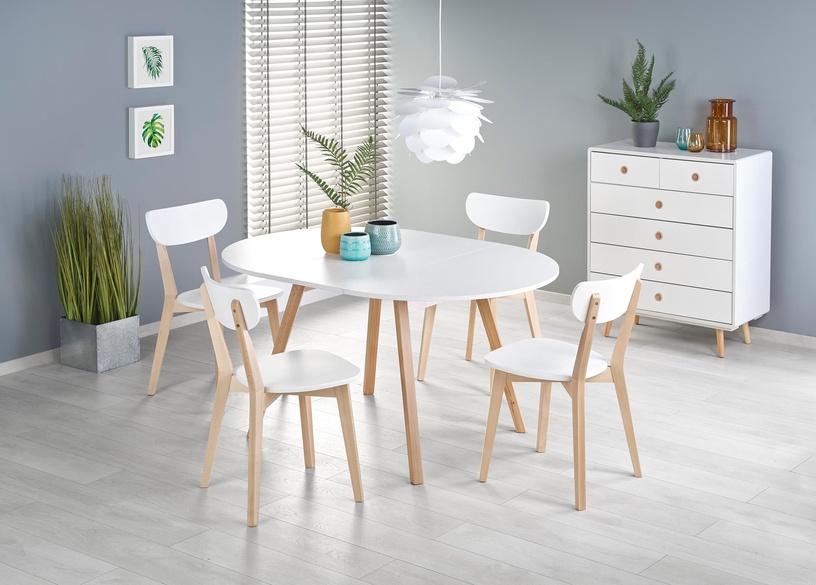 Pusdienu galds Halmar Ruben, balta/dižskābarža, 1020 - 1420x1020x736mm