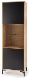 Шкаф-витрина Halmar Raven W-1, черный/дубовый, 60x40x190 см