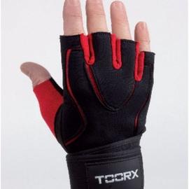 Перчатки без пальцев Toorx Professional, черный/красный, M