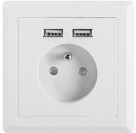 Lanberg AC French Wall Socket + 2 USB Port