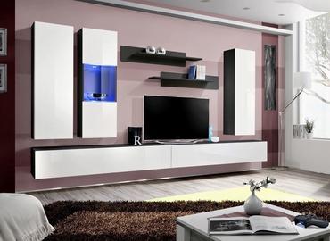 Dzīvojamās istabas mēbeļu komplekts ASM Fly E Horizontal Glass Black/White Gloss