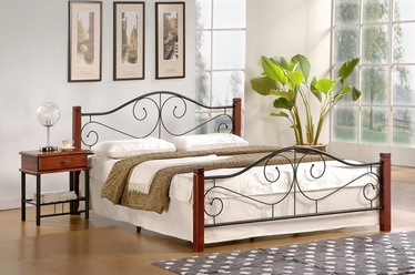 Кровать Halmar Violetta Antique Cherry/Black, 205x165 см, с решеткой