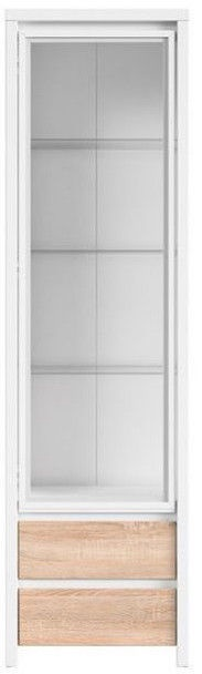 Шкаф-витрина Black Red White Kaspian REG1W2S White/Sonoma Oak, 56x40.5x200.5 см