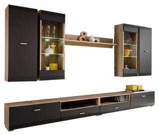 Dzīvojamās istabas mēbeļu komplekts Furnival Clif, ozola/grafīta