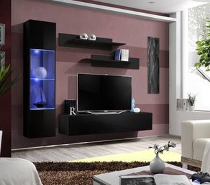 Dzīvojamās istabas mēbeļu komplekts ASM Fly G Horizontal Glass Black/Black Gloss