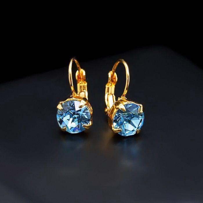Diamond Sky Earrings With Swarovski Elements Magnificence Aquamarine Blue