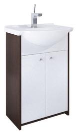 Izlietne ar skapīti vannas istabai Rufi, 50cm, balti-brūns